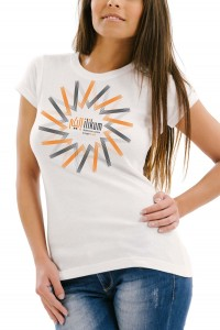 White t-shirt with orange and grey graphics available in small, medium, large and xtra large.