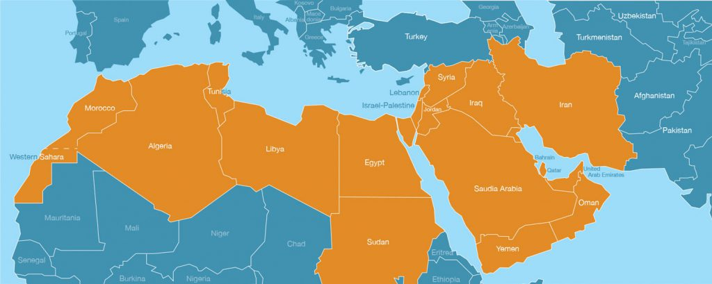 These countries are sometimes grouped into the Middle East region, The term, Middle East, is a common yet contested description of a collection of countries encompassing Western Sahara, Morocco, Libya, Algeria, Tunisia, Egypt, Syria, Jordan, Iraq, Israel-Palestine, Lebanon, Saudi Arabia, Bahrain, Qatar, United Arab Emirates, Yemen, Oman, and Iran. European-centric term first though to gain usage in the mid-nineteenth century